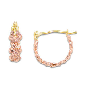 Plumeria Hoop Earrings in 14K Rose Gold - 4mm
