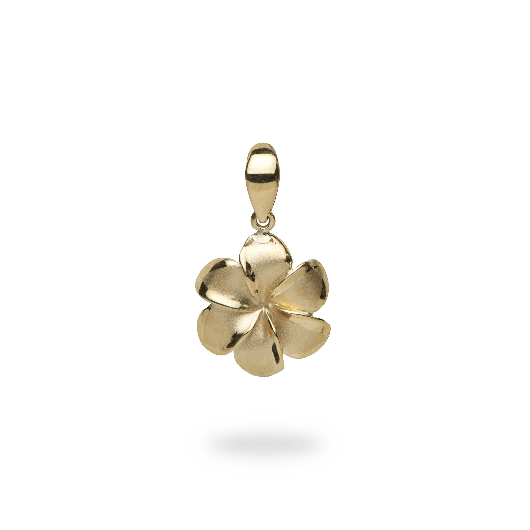 Aloha heart pendant in 14k yellow gold 9mm 30mm 6 petal plumeria pendant in 14k yellow gold 13mm mozeypictures Choice Image