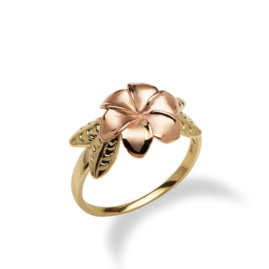 6 Petal Plumeria Ring in 14K Two Tone Gold - 11mm