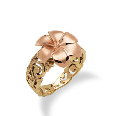 6 Petal Plumeria Scroll Ring in 14K Two Tone Gold - 13mm