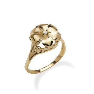 6 Petal Plumeria Ring with Diamond in 14K Yellow Gold - 11mm