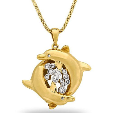 Wyland Dolphin Necklace with Diamonds in 14K Yellow Gold