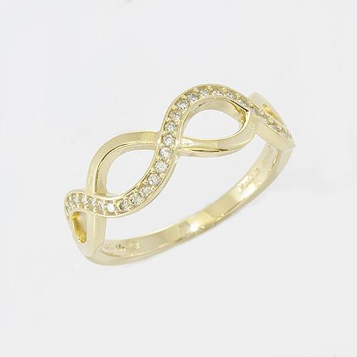 Infinity Ring with Diamonds in 14K Yellow Gold