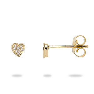 Diamond Pave Heart Earring in 14K Yellow Gold