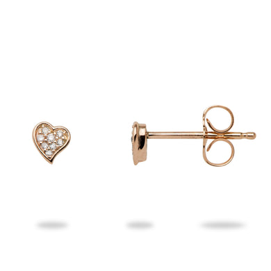 Diamond Pave Heart Earring in 14K Rose Gold