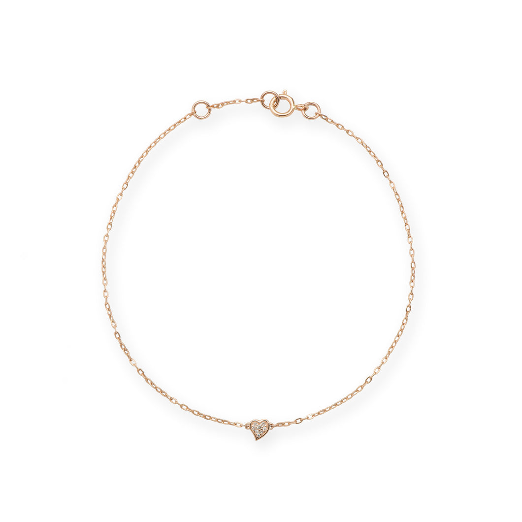 Diamond Pave Heart Bracelet in 14K Rose Gold