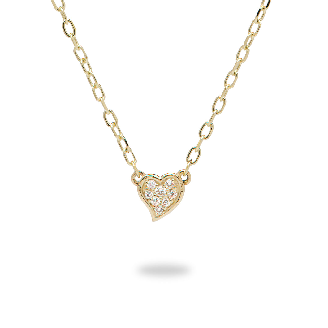 Diamond Pave Heart Necklace in 14K Yellow Gold