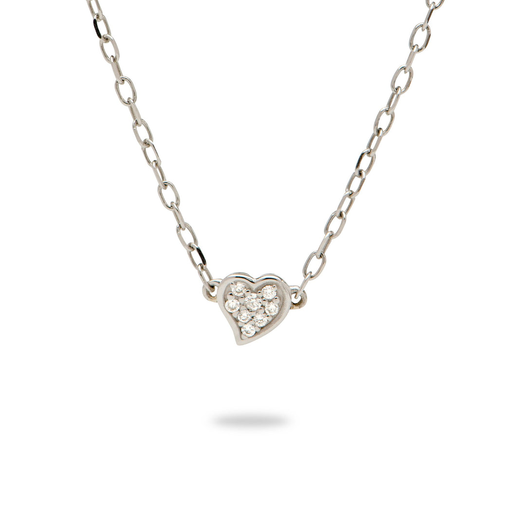 Diamond Pave Heart Necklace in 14K White Gold
