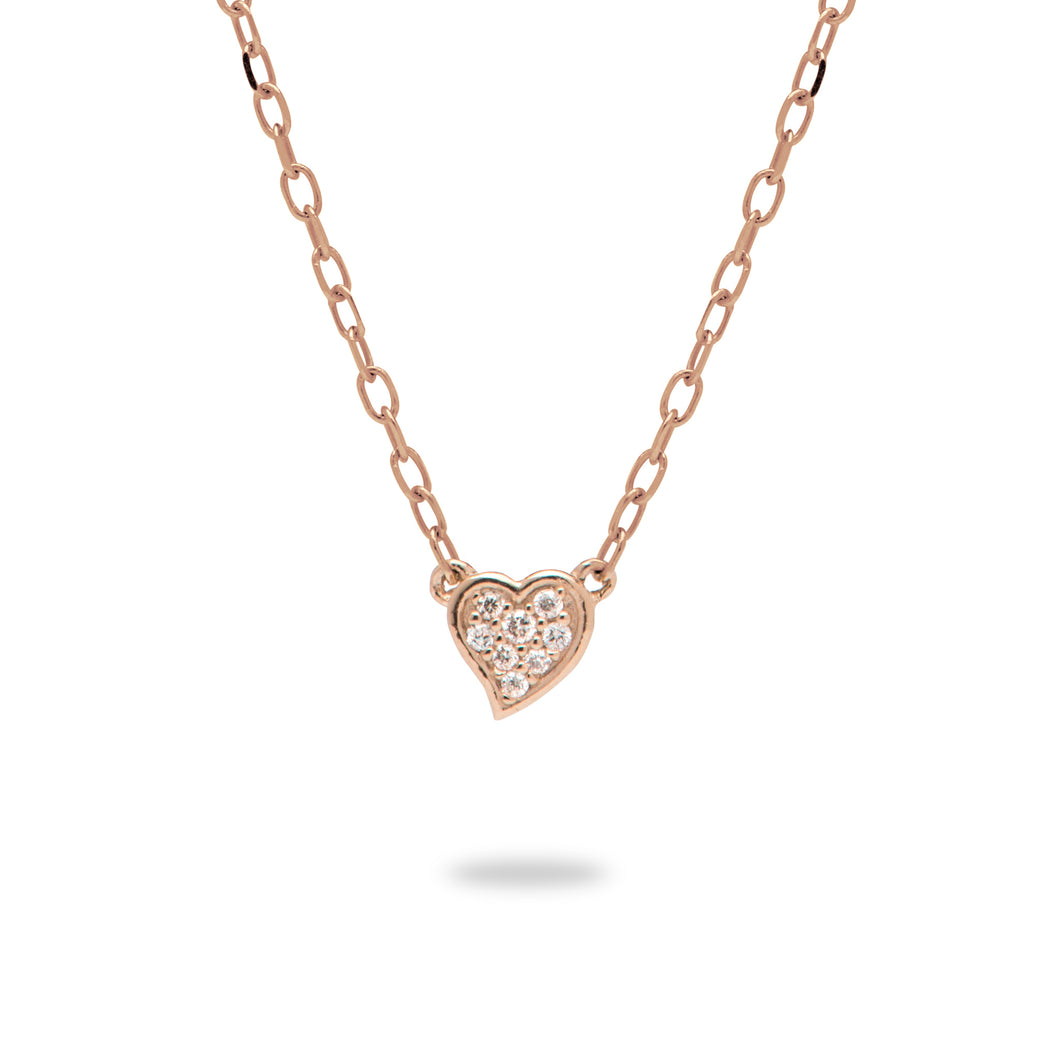 Diamond Pave Heart Necklace in 14K Rose Gold