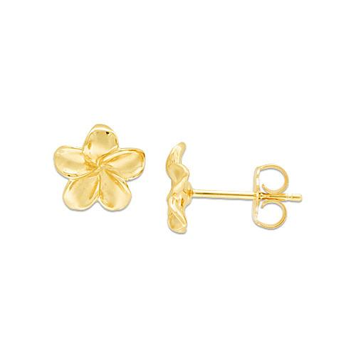 Plumeria Earrings in 14K Yellow Gold - 9mm