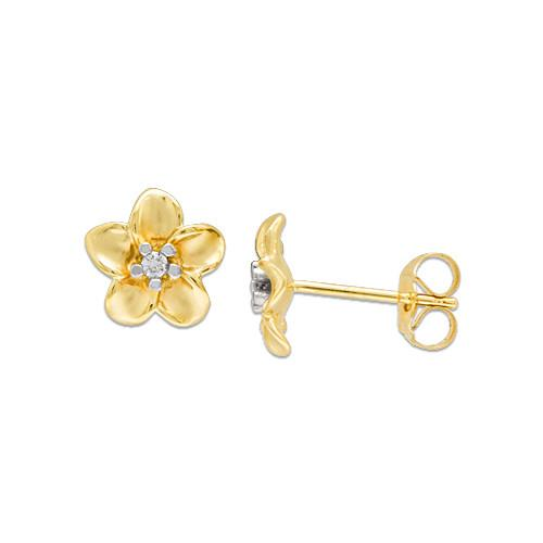 Plumeria Earrings with Diamonds in 14K Yellow Gold - 9mm