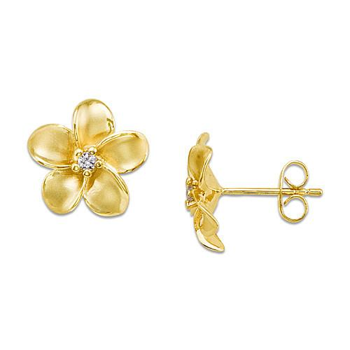 Plumeria Earrings with Diamonds in 14K Yellow Gold - 13mm
