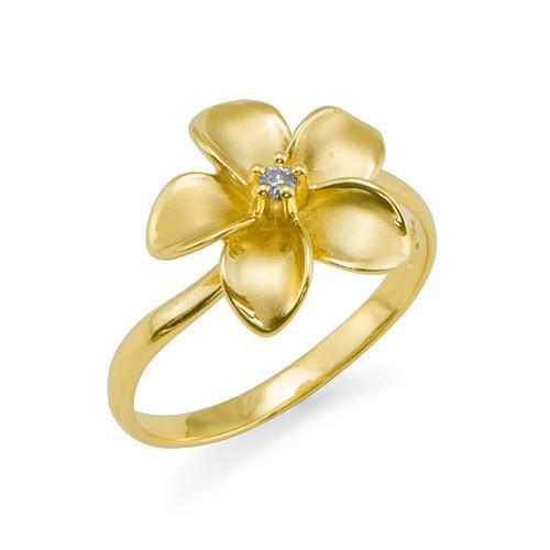 PLUMERIA RING WITH DIAMOND IN 14K YELLOW GOLD