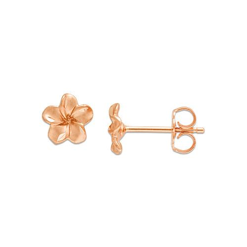 Plumeria Earrings in 14K Rose Gold - 7mm
