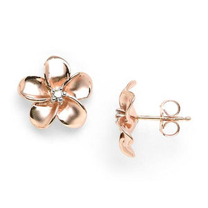 Plumeria Earrings with Diamonds in 14K Rose Gold - 13mm