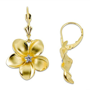 Plumeria Earrings with Diamonds in 14K Yellow Gold - 18mm