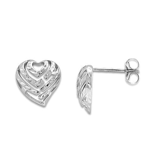 Aloha Heart Earrings in 14K White Gold - 11mm