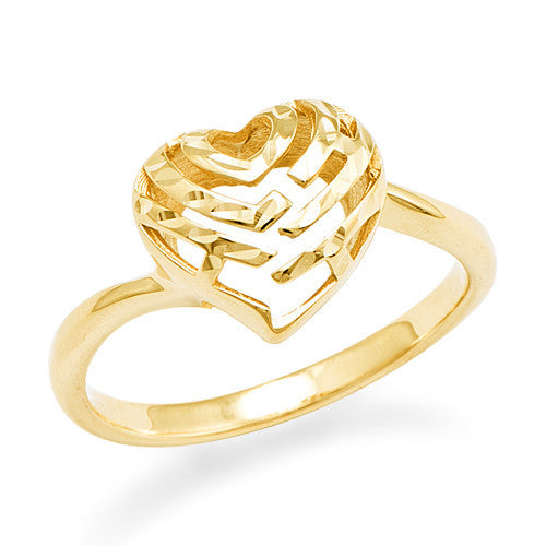 Aloha Heart Ring in 14K Yellow Gold - 11mm