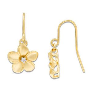 Plumeria Earrings with Diamonds in 14K Yellow Gold - 11mm