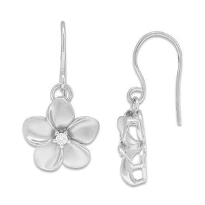 PLUMERIA SHEPHERD'S HOOK EARRINGS WITH DIAMONDS IN 14K WHITE GOLD