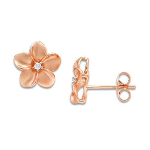 Plumeria Earrings with Diamonds in 14K Rose Gold - 11mm