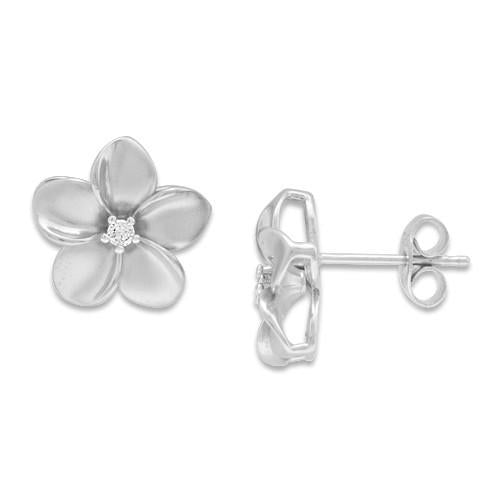 Plumeria Earrings with Diamonds in 14K White Gold - 13mm