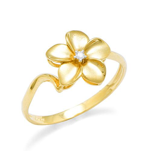 Plumeria Ring with Diamond in 14K Yellow Gold - 11mm