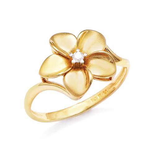 Plumeria Ring with Diamond in 14K Yellow Gold - 13mm