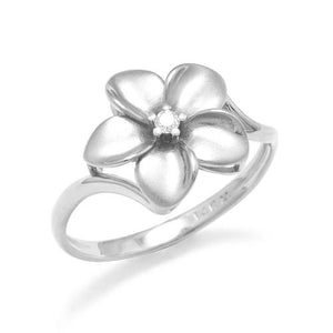 Plumeria Ring with Diamond in 14K White Gold - 13mm