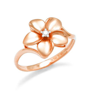 Plumeria Ring with Diamond in 14K Rose Gold - 13mm