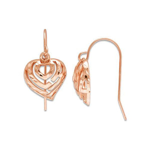 Aloha Heart Earrings in 14K Rose Gold - 11mm