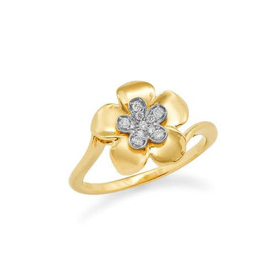Plumeria Ring with Diamonds in 14K Two-Tone Gold - 13mm