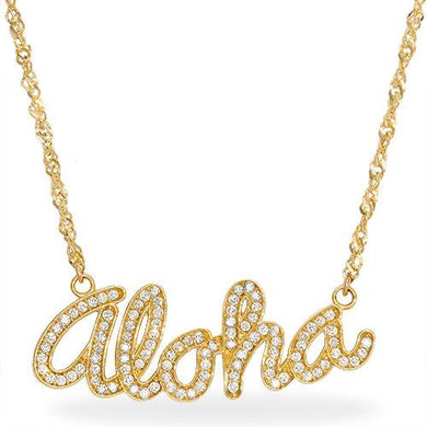 Aloha Necklace with Diamonds in 14K Yellow Gold - Large