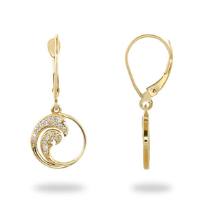 Nalu Double Wave Dangle Leverback Earrings with Diamonds in 14K Yellow Gold - 12mm