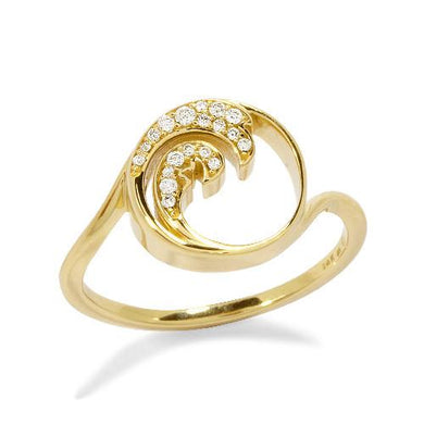 Nalu Ring with Diamonds in 14K Yellow Gold - 12mm