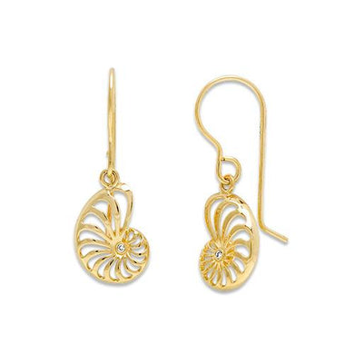 Nautilus Earrings with Diamonds in 14K Yellow Gold - 12mm