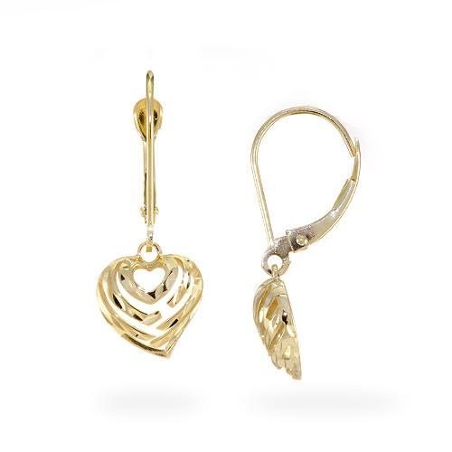 ALOHA HEART DANGLE LEVER BACK EARRINGS IN 14K YELLOW GOLD | アロハハート 14K イヤリング
