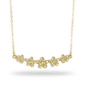 Plumeria Necklace with Diamonds in 14K Yellow Gold