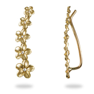 Plumeria Earrings with Diamonds in 14K Yellow Gold (4-7mm)