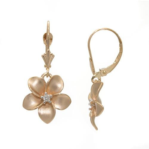 Plumeria Earrings with Diamonds in 14K Rose Gold - 13mm 100-01716