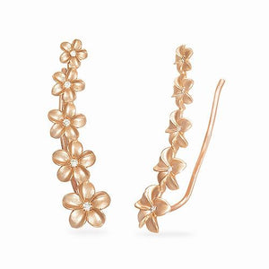 Plumeria Earrings with Diamonds in 14K Rose Gold (4-7mm)
