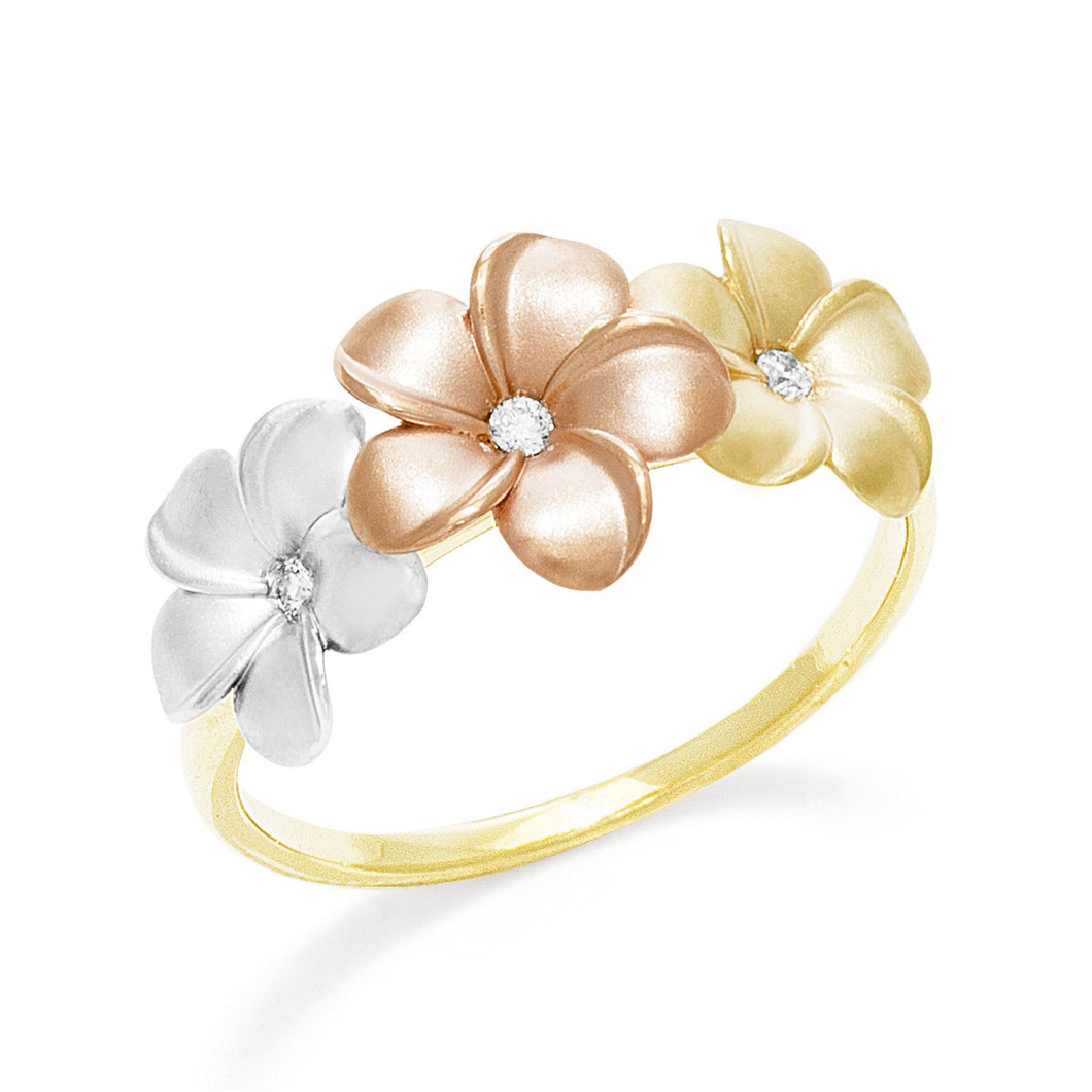 Plumeria Ring with Diamonds in 14K Tri-Color Gold
