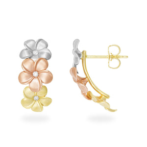 Triple Plumeria pierced earrings with Diamonds in 14K Tri-Color Gold