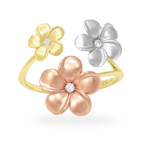 FLOATING TRI-COLOR PLUMERIA 14K GOLD RING SET WITH DIAMOND