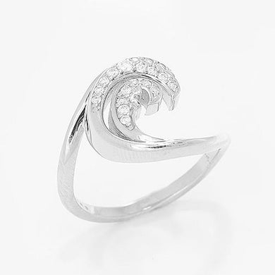 Nalu Ring with Diamonds in 14K White Gold - 15mm 100-01744