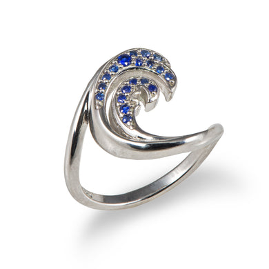 NALU OPEN WAVE RING WITH BLUE SAPPHIRES IN 14K WHITE GOLD - 15MM