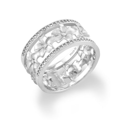 10mm Plumeria Eternity Ring with Diamonds in 14K White Gold 100-01751