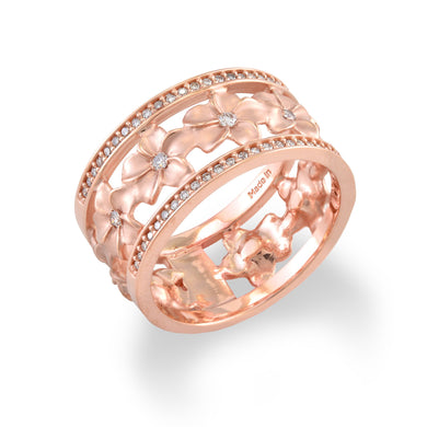 10mm Plumeria Eternity Ring with Diamonds in 14K Rose Gold 100-01752