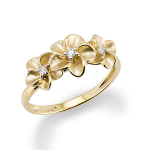 Three Plumeria Ring with Diamond in 14K Yellow Gold - 7-8.5mm