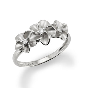 Three Plumeria Ring with Diamond in 14K White Gold - 7-8.5mm